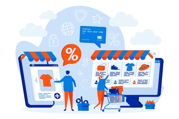 E-commerce web design concept with people characters Premium Vector