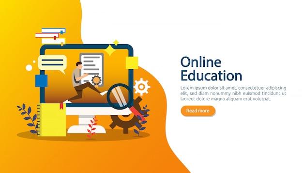Eラーニング、eブック、またはバナーのオンライン教育のコンセプト Premiumベクター