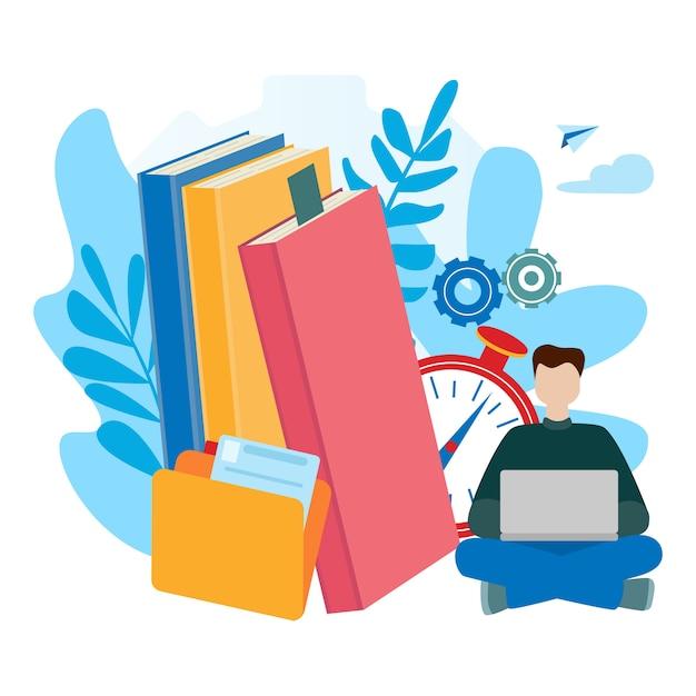 Eラーニング、オンライン教育、eブック、自己教育のための概念。 Premiumベクター