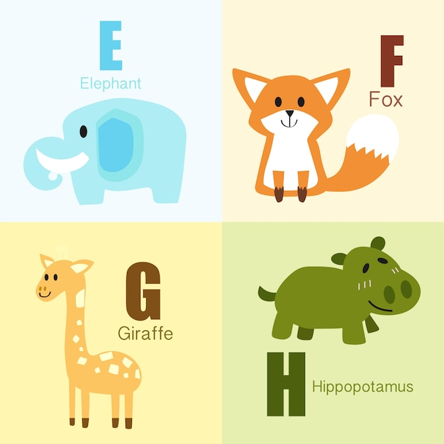 E to h animals alphabet illustration collection. Premium Vector