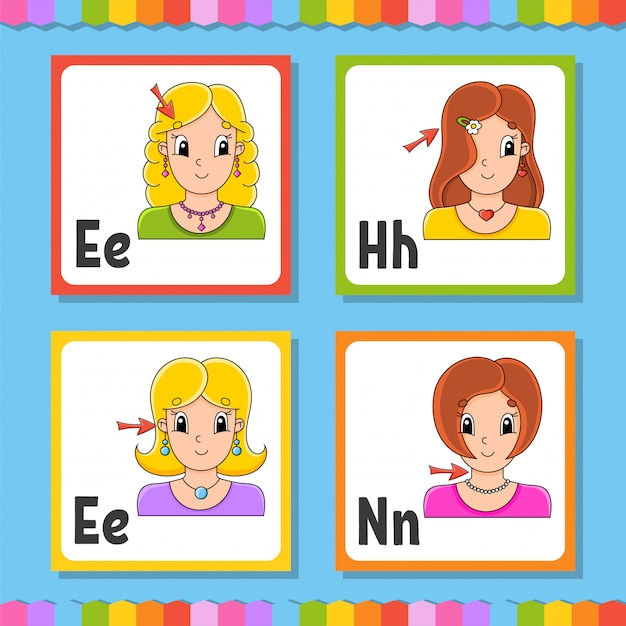 Английский алфавит. буква e, h, n. abc квадратные флешки. Premium векторы