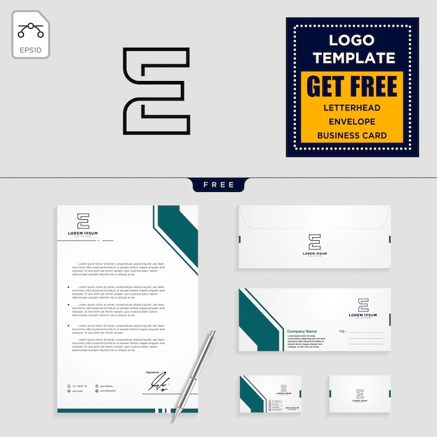 E initial logo template and stationery design Premium Vector