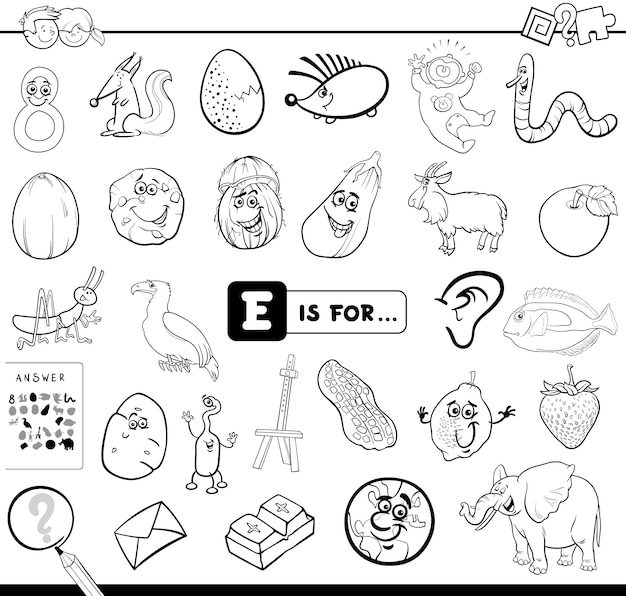 E is for educational game coloring book Premium Vector