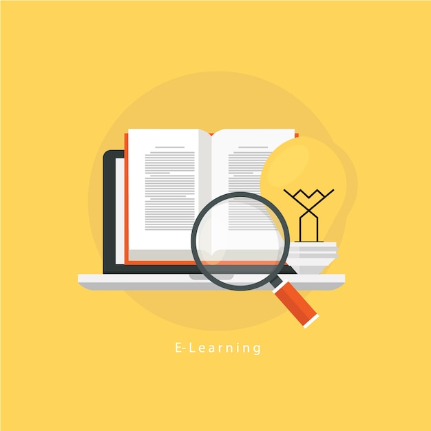 E-learnign design on yellow background Free Vector