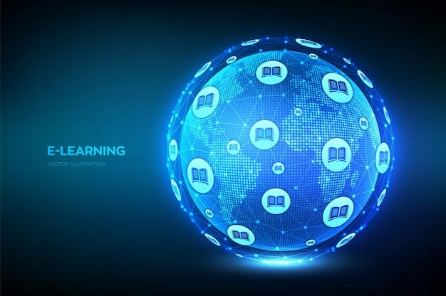 Фон электронного обучения Бесплатные векторы