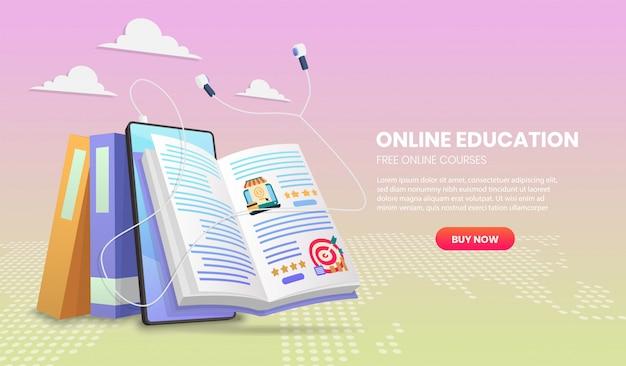 Баннер электронного обучения. шаблон целевой страницы онлайн-образования для веб-курсов или учебников концепции 3d. Premium векторы