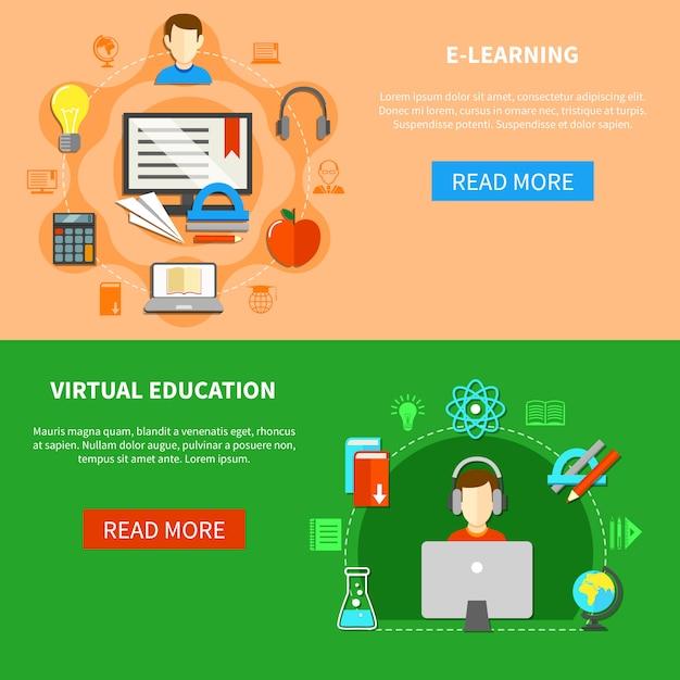 E learning banner set Free Vector