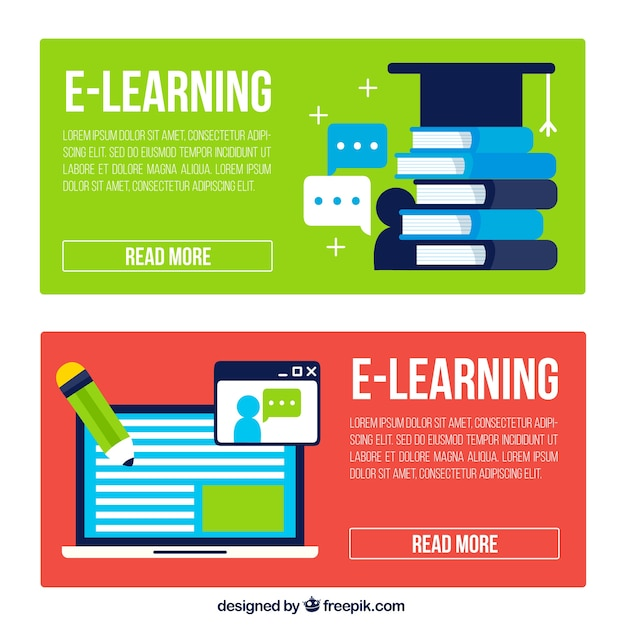 E Learning Banners In Flat Design Free Vector