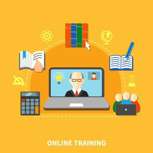 E learning colored composition Free Vector