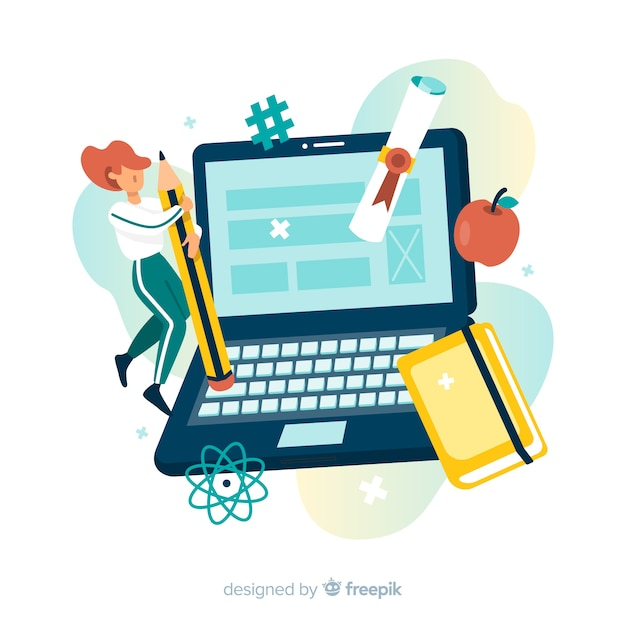 E-learning concept flat background Free Vector