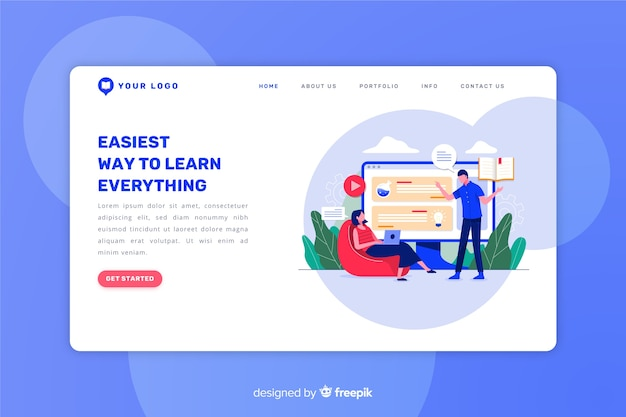 E-learning concept flat landing page Free Vector
