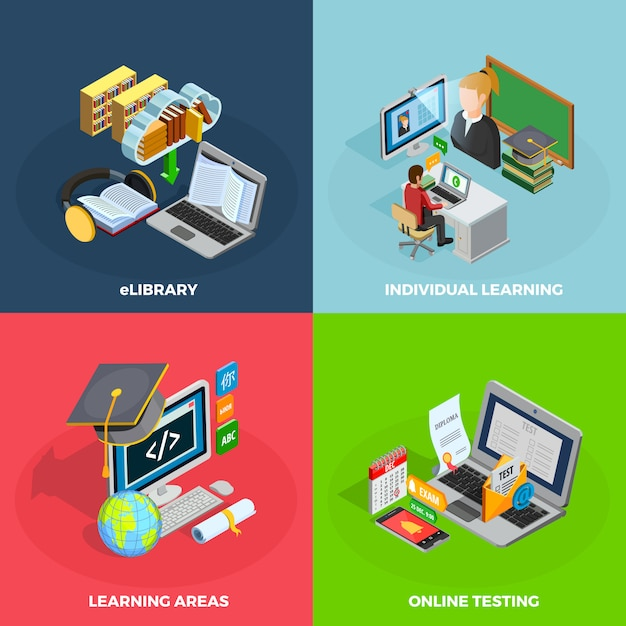 E-learning concept icons set Free Vector