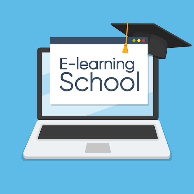 E-learning concept on laptop Premium Vector