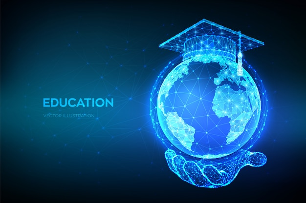 E-learning concept. online education. abstract low polygonal graduation cap on planet earth globe mo