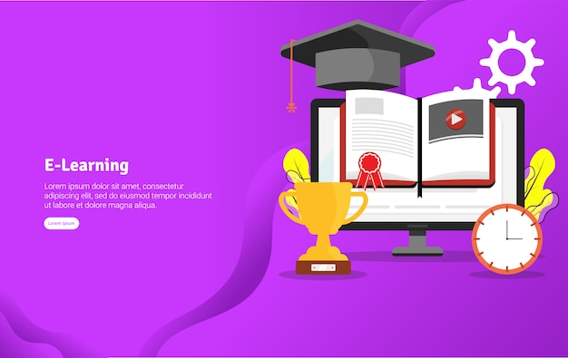 E-learning concept иллюстрация баннер Premium векторы