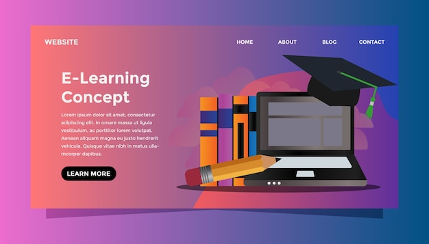 E-learning concept. Premium Vector