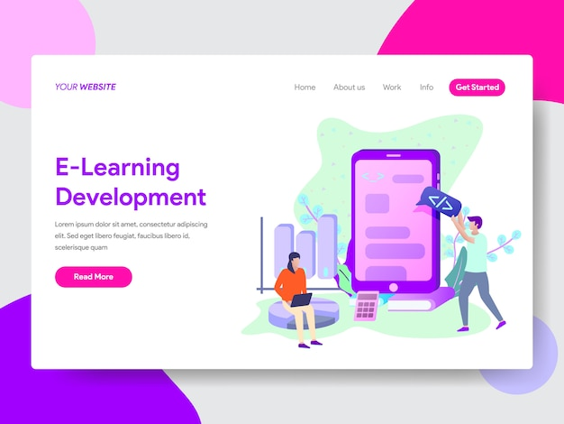 E-learning development illustration for web pages Premium Vector