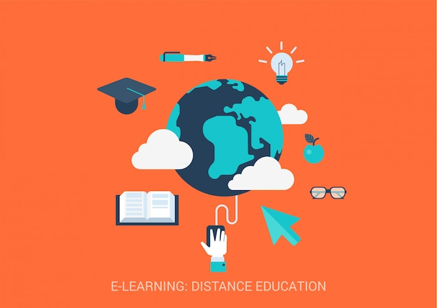E-learning distance education concept flat style illustration. global online study. Premium Vector