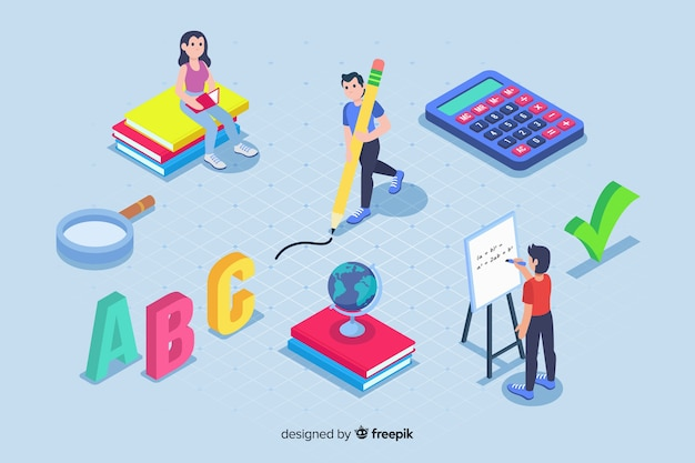 E-learning elements in isometric style Free Vector
