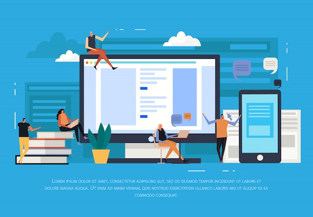 E-learning flat Free Vector