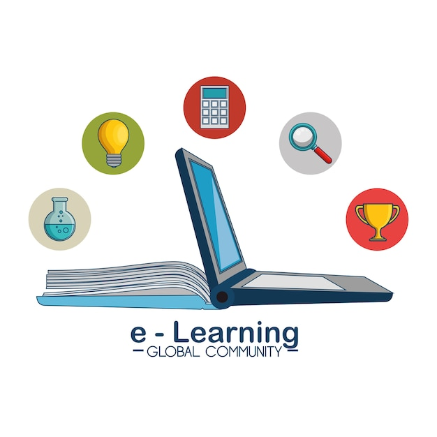 E-learning global community concept Premium Vector