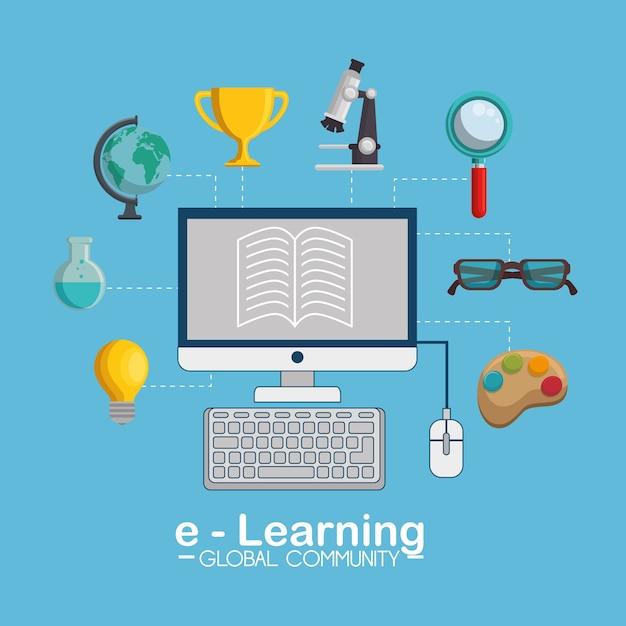 E-learning global community concept Premium Vector