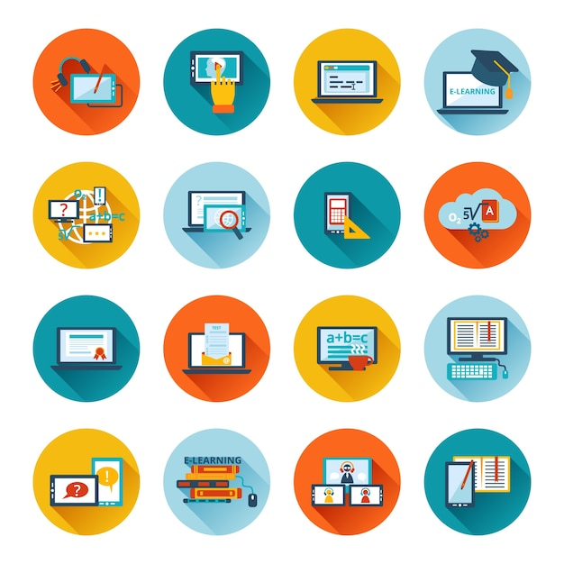 elearning icon flat vector free download