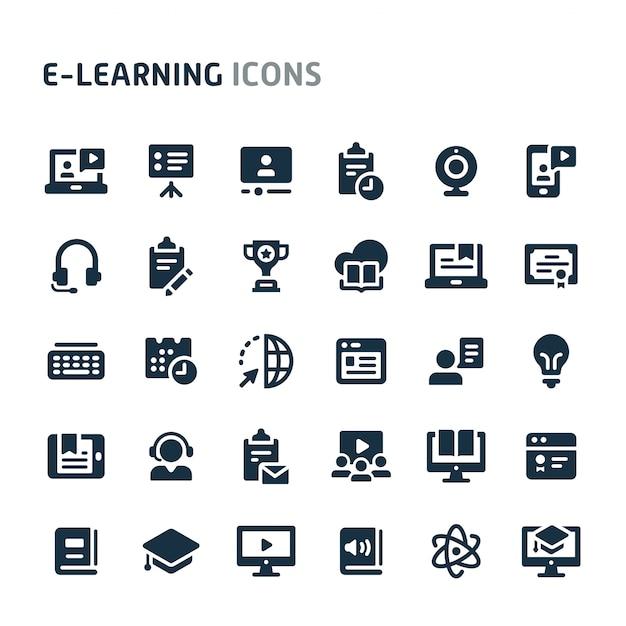 E-learning icon set. fillio black icon series. Premium Vector
