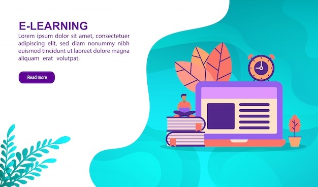 E learning illustration concept with character. landing page template Premium Vector