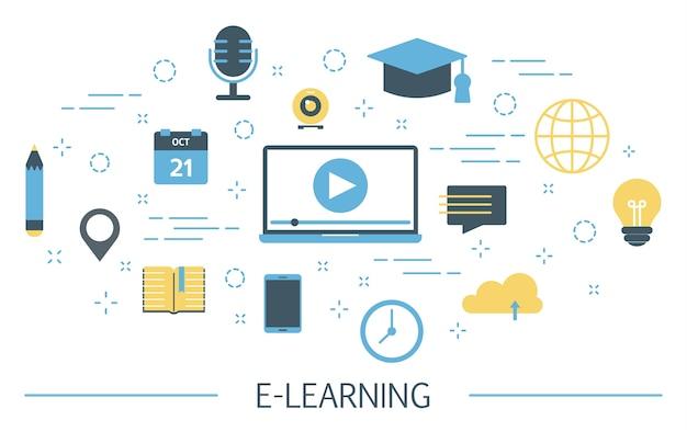 E-learning illustration Premium Vector