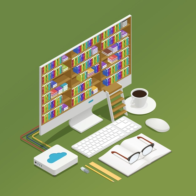 E-learning isometric composition Free Vector