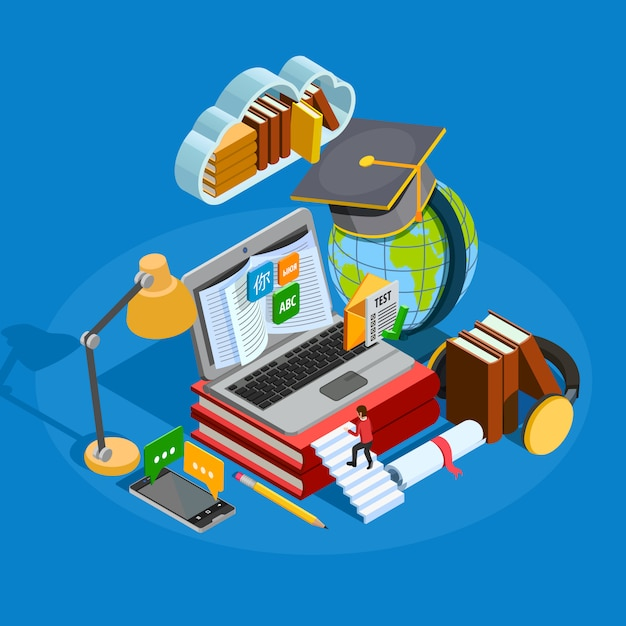 E-learning isometric concept Free Vector