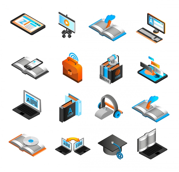 E-learning isometric icons set Free Vector