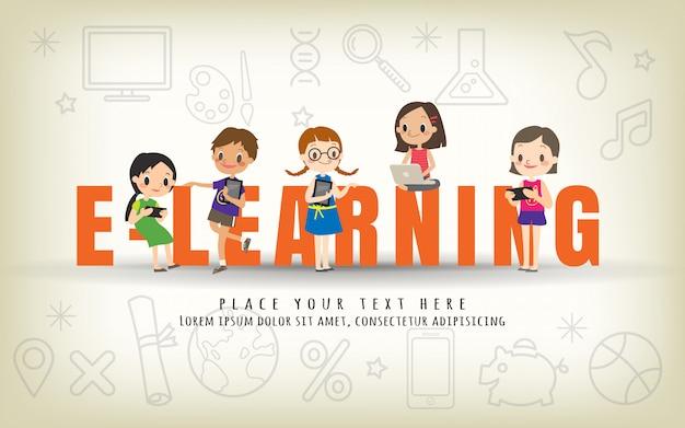 E-learning kids education course concept illustration Premium Vector