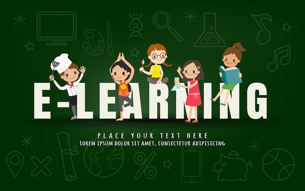 E-learning kids education course concept Premium Vector