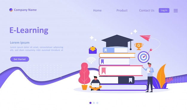 E-learning landing page Premium Vector