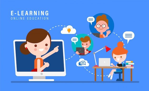 E Learning Online Education Concept Illustration Online Teacher On Computer Monitor Kids Studying At Home Via Internet Cartoon In Flat Design Style Premium Vector
