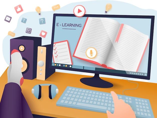 Электронное обучение, онлайн-обучение, домашнее обучение. расслабленный человек смотрит онлайн-тренировку. Premium векторы