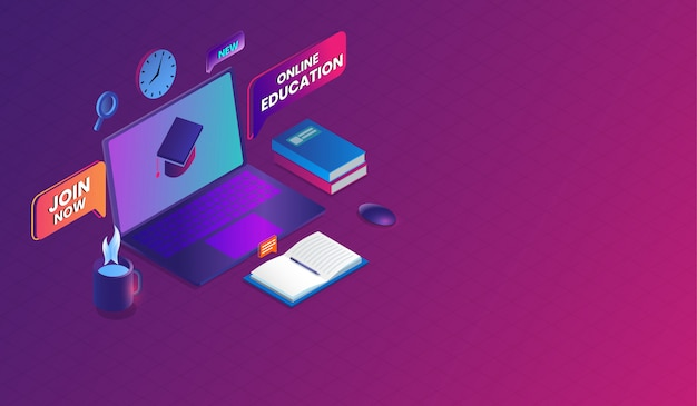 E-learning and online training course isometric design. Premium Vector
