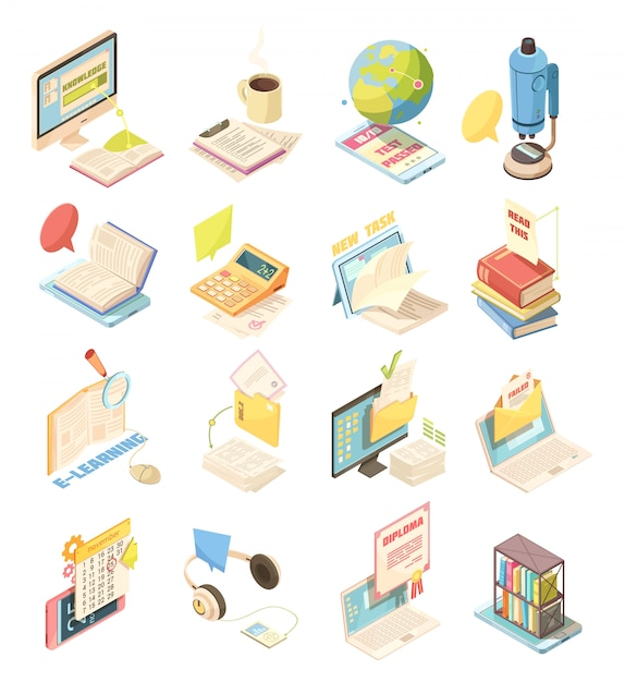 E-learning set of isometric icons Free Vector