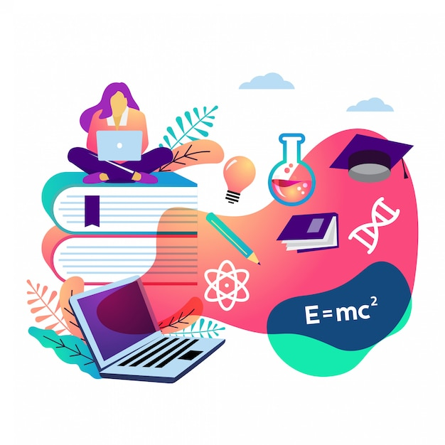 E learning vector illustration Premium Vector