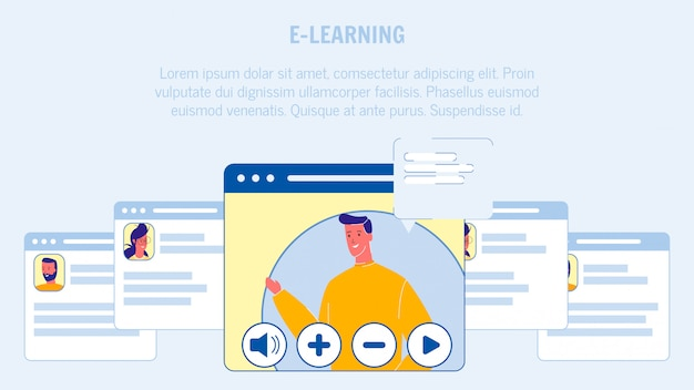 E-learning vector web banner layout with copyspace Premium Vector