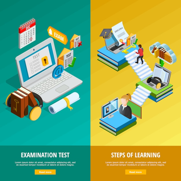 E-learning vertical banners set Free Vector