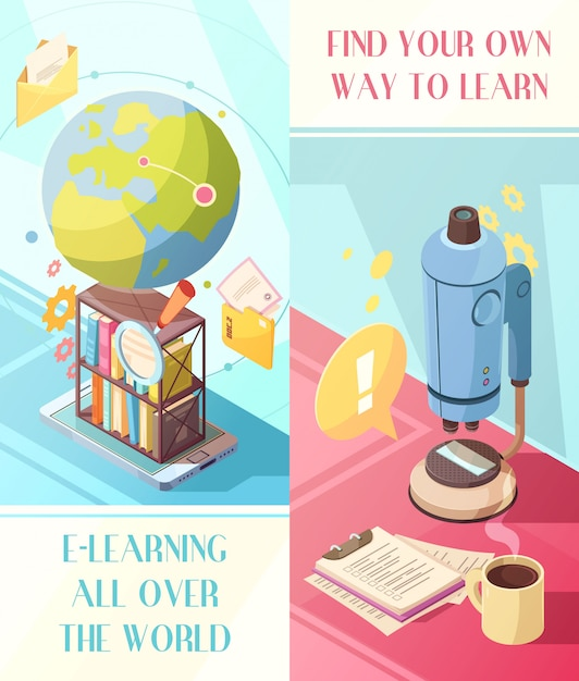 E-learning vertical isometric banners with online education worldwide and own way for studying Free Vector