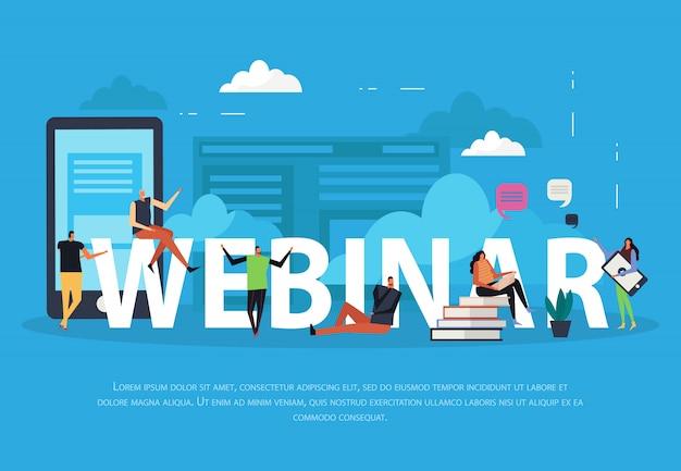 Pagina di destinazione piatta per webinar di e-learning Vettore gratuito