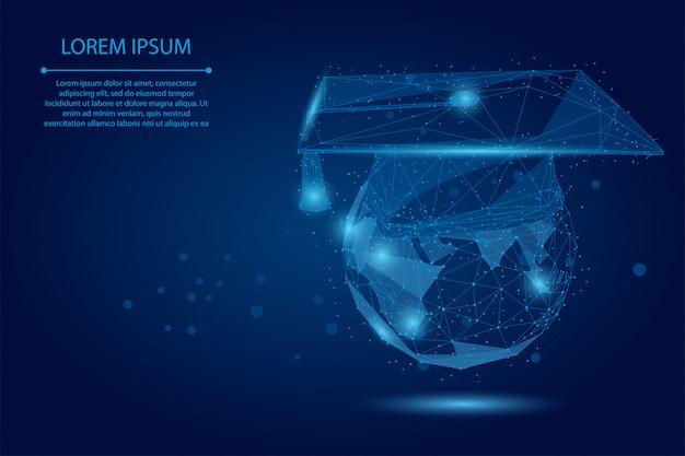 Абстрактная линия месива и кепка градации пункта на планете земля. низкополигональная программа дистанционного обучения e-learning Premium векторы