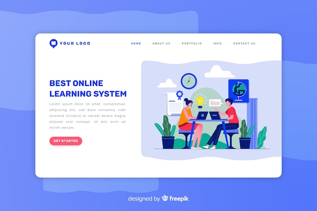 E-learning концепция плоской целевой страницы Бесплатные векторы