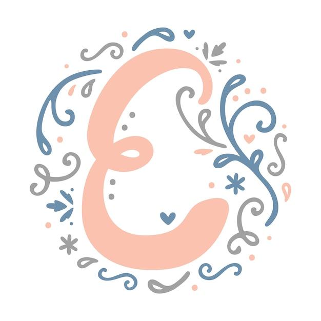 ' E ' Letter Monogram Design - alphabet letter feminine ...