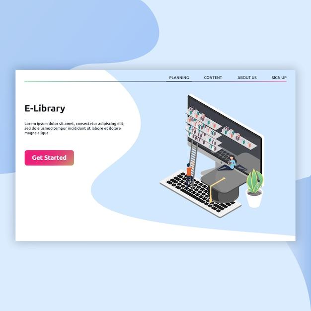 Целевая страница библиотеки e в изометрическом стиле Premium векторы