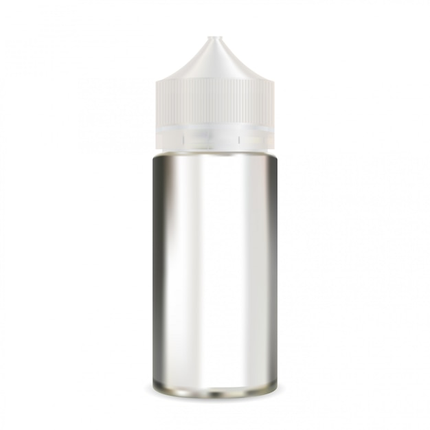 E liquid bottle mock up. vapour packaging blank Premium Vector
